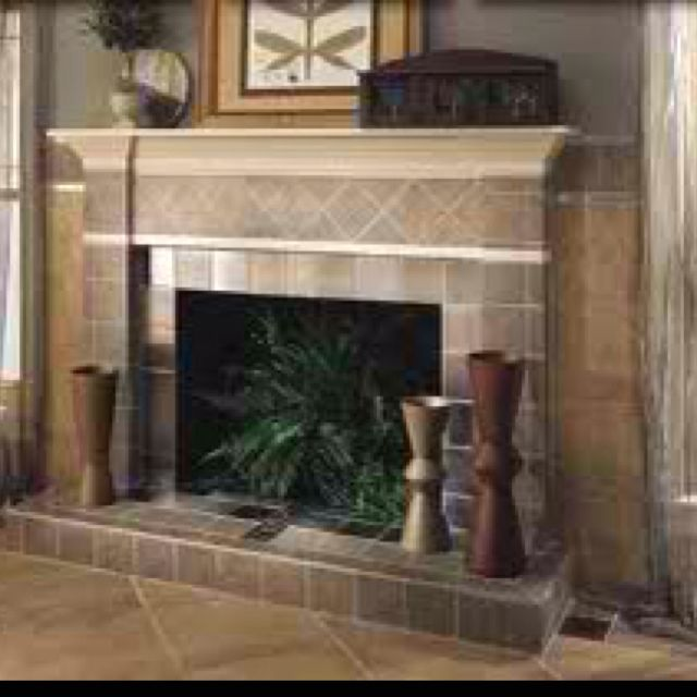 Tile fireplace and tile floor home decor design - Tile over brick fireplace ...