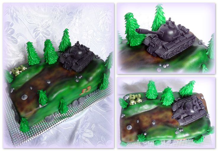 Tank in nature cake