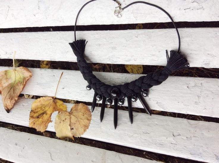 Black necklace. My work. Hand made.  Cotton, natural stones, leather