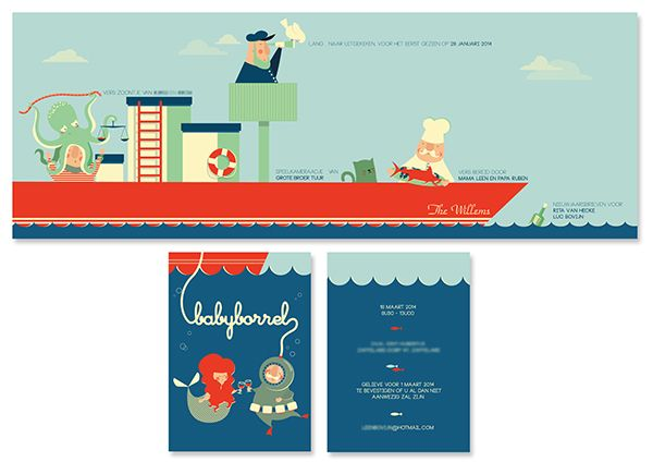 Birth Announcement Maurice by babs raedschelders, via Behance / Geboortekaartje