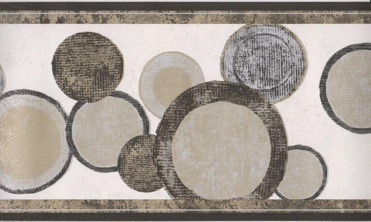 Contemporary Wallpaper Borders | Geometric Wallpaper Border/Black Gold Circles Modern Wallpaper Border ...