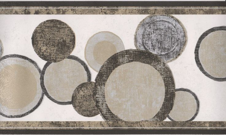 Contemporary Wallpaper Borders | Geometric Wallpaper Border/Black Gold Circles Modern Wallpaper Border ...