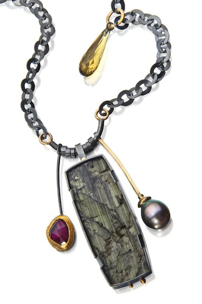Sydney Lynch Natural tourmaline surface combined with Tahitian pearl, rhodolite garnet, cognac quartz drop.