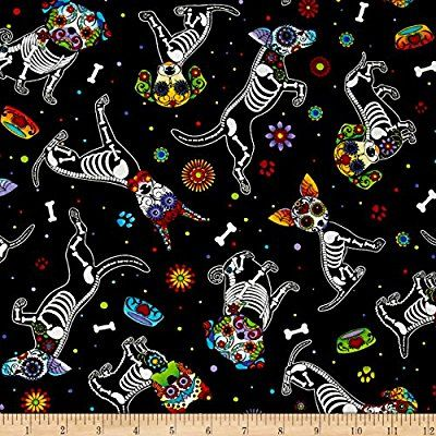 Timeless Treasures Day of Dead Pups Black fabric by the yard. 100% quilting cotton cut to order, 44 inches wide. Black, green, blue, purple, red, yellow, orange and white. https://www.amazon.com/Timeless-Treasures-Dead-Black-Fabric/dp/B01B50KU94/ref=as_sl_pc_as_ss_li_til?tag=serendipityr-20&linkCode=w00&linkId=4a2611ee1208775a295ca8906e0a6cfa&creativeASIN=B01B50KU94