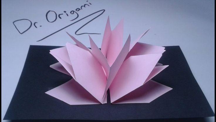 |DIY| Very easy| kirigami Pop-up card lotus flower ...