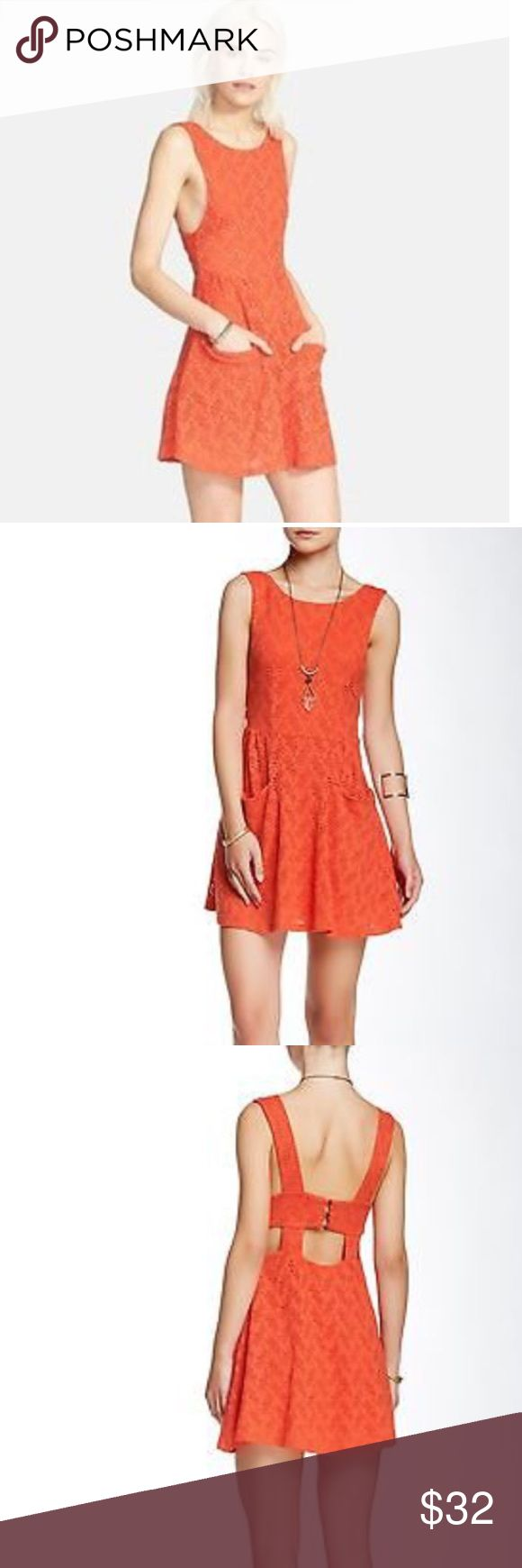 Free People Orange Poppy Dress Worn Once for a spring stroll. So comfy, soft, size two and holds form but us lots of stretch if needed. Pockets for hands, finds, keys, and cuteness. I adore it but just feel my shoulders are a bit broad for the cut so I never wear it, but haven't wanted to sell it. Perfect condition. Free People Dresses Mini
