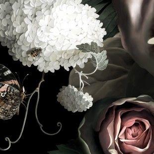 Dark Floral II Black Saturated Sample - Wallpaper sample - Webshop - Ellie Cashman Design