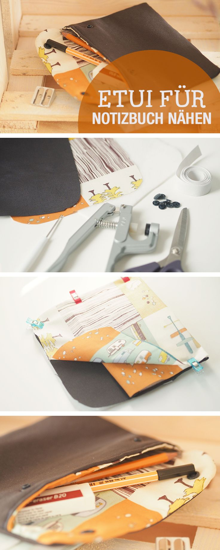 DIY-Nähanleitung: Stiftemäppchen, Federtasche für Notizbuch nähen, DIY Ideen Schule / diy sewing tutorial: sew a pencil case to strap on your notebook, school diy via DaWanda.com