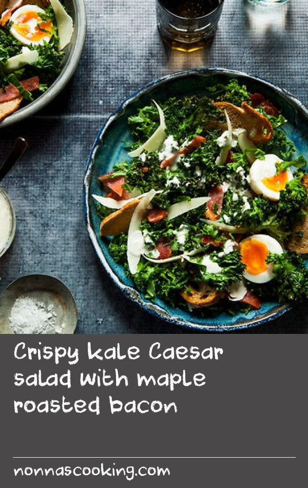 Crispy kale Caesar salad with maple roasted bacon | Arguably one of the most popular salads of the new world, the Caesar combines ingredients we all know and love: bacon, cheese, bread and mayo. Delicious it is, healthy it is not... until now. This lighter and healthier rendition hits the high notes of a classic Caesar, without compromising on flavour. Feel free to add poached chicken for a more substantial protein fix. If anchovies aren't to you liking, simply replace with a few teaspoons…