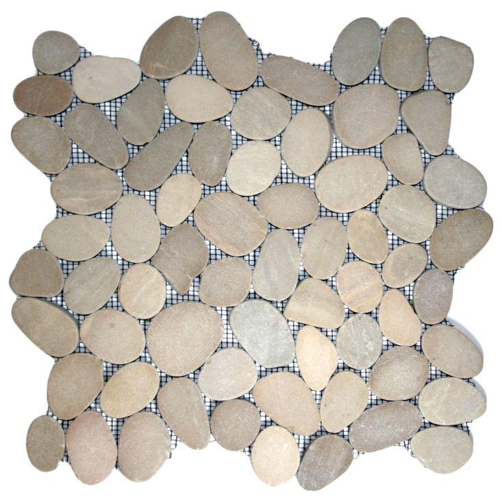 Sliced Java Tan Pebble Tile - Pebble Tile Shop at $9.24 per sq ft and free shipping