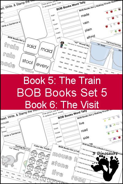 "Free BOB Books Set 5 Books 3 & 4 Printables: Include writing, coloring, decoding & matching, answer questions, ""ai"" and ""oa"" and more. Plus some extra pages as well - 3Dinosaurs.com"