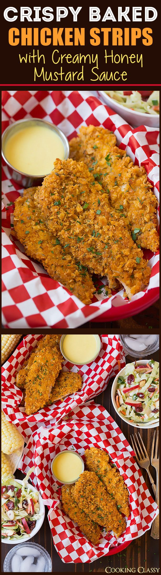 Crispy Baked Chicken Strips with Creamy Honey Mustard Dipping Sauce | Cooking Classy