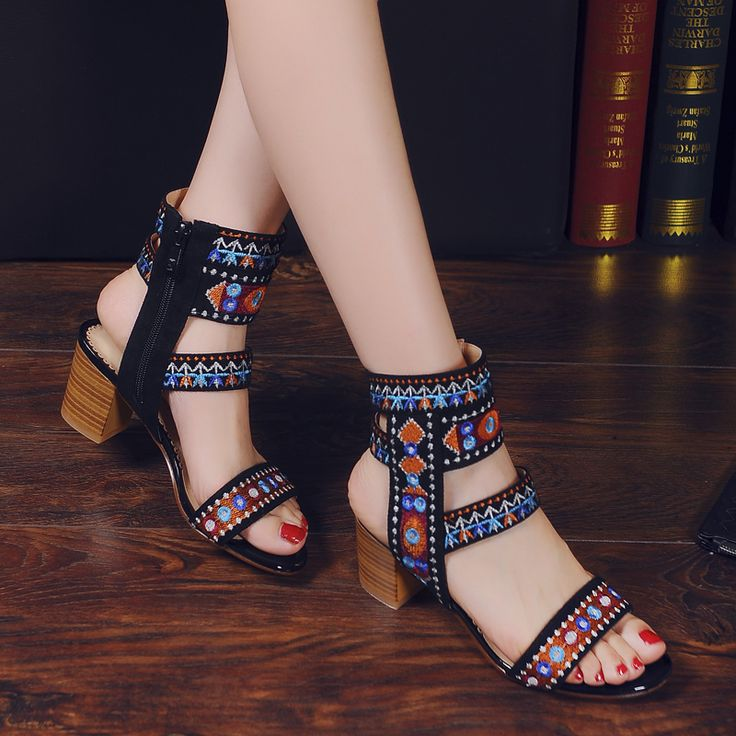 Cheap gladiator sandals women, Buy Quality gladiator sandals directly from China gladiator style sandals Suppliers: 2017 New Tide Ethnic Women's Shoes Embroidered Bohemian Style Ankle Warp Gladiator Sandals Women Cosy Chunky High Heels Casual
