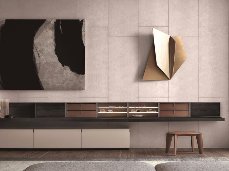 Wall-mounted wooden TV wall system QUID by Poliform design C R