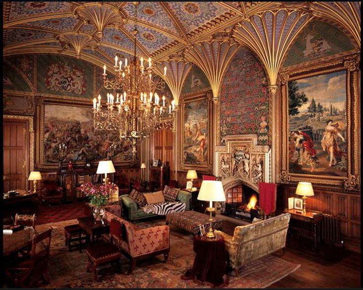 Interior of Eastnor Castle in Herefordshire, England by Augustus W. N. Pugin, Gothic Revival.