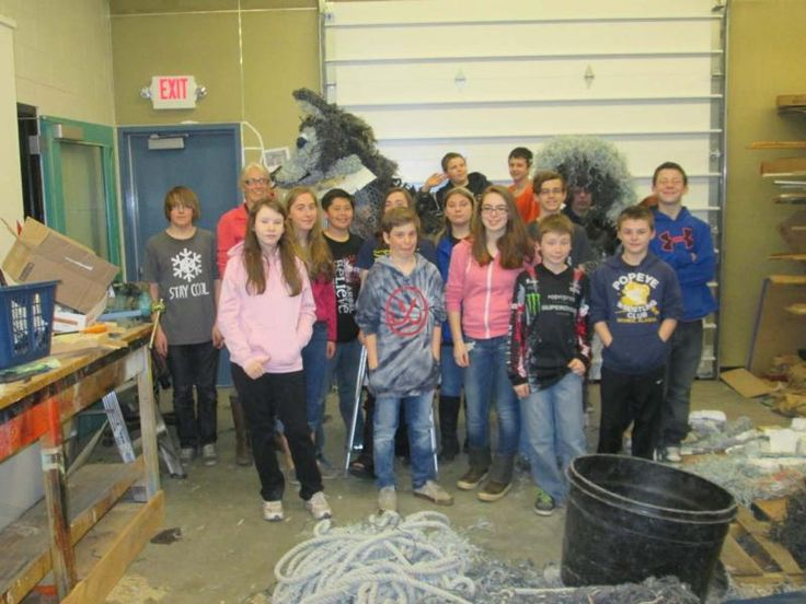 Homer Middle School students are using marine debris to create a sculpture of their school's mascot.-Sarah Richardson