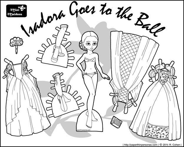 black and white printable princess paper doll with ballgowns