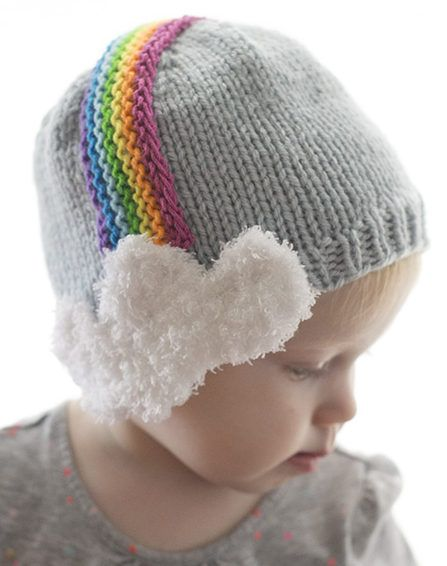 Free Knitting Pattern for Over the Rainbow Baby Hat - Your little leprechauns will stay warm with this rainbow hat with little cloud earflaps. Web pattern for 6 months is free. More sizes and a printable pdf are available on Etsy. Designed by Little Red Window.