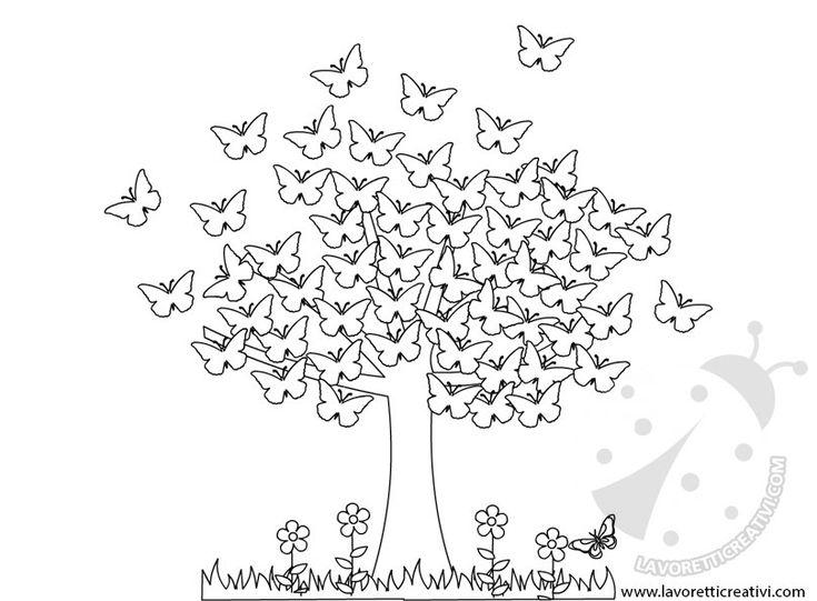 albero primavera farfalle