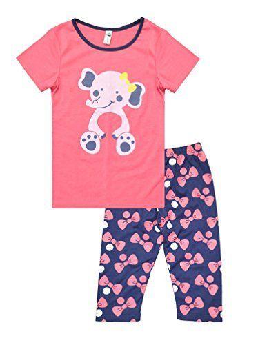 82b919b6d2 Großes Angebot EUR 16,09 Little Hand Mädchen Pyjama Kinder Zweiteilige  Schlafanzug Kurzarm Tier Baumwolle