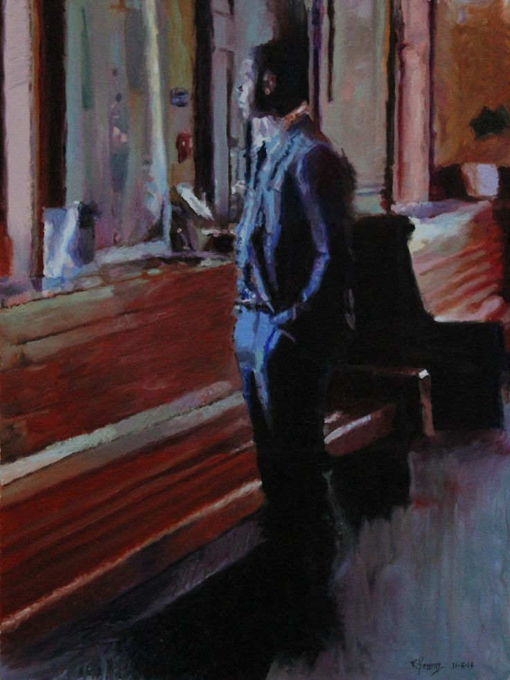 Waiting at the Train Station oil painting by Kenneth Young www.kenyoungfineart.com