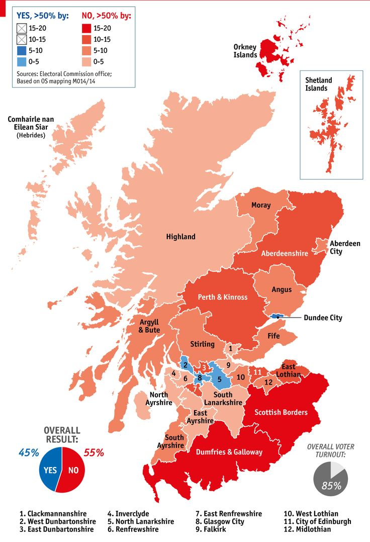 "Map of the ""No"" vote for Scottish independence"