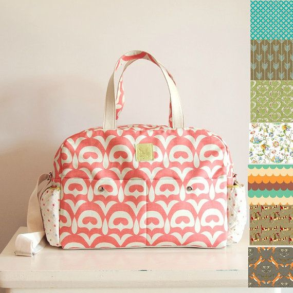 Diaper bag /Nappy bag choose your fabric - Coral Print fabric and white leather/big versatile and practical bag/weekender/overnight bag/baby...