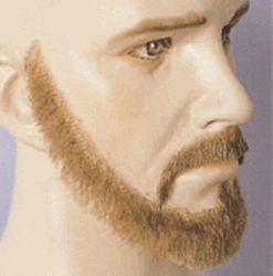 BMG225** Fake Beard Set - Thin Beard and Mustache Set 100% Human Hair - Glue On - FAKE BEARDS & MUSTACHES SIDEBURNS, EYEBROWS BEARD and WIG SETS
