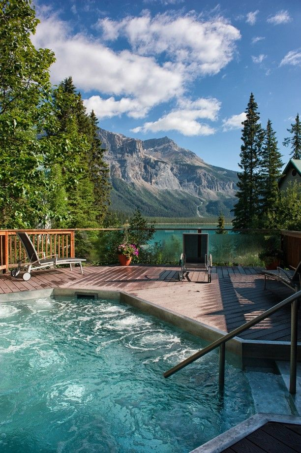 Emerald Lake Lodge, British Columbia, Canada — by Kristin Repsher. How amazing is this hot tub? This is what you get if you stay at Emerald Lake Lodge -- amazing views and a hot tub to...