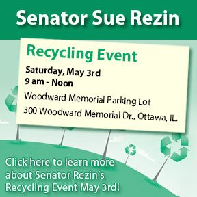 Sen. Rezin invites you to attend her recycling event on Saturday, May 3!