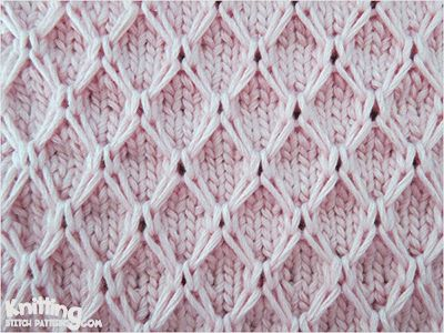Diamond Mesh Slipped stitch | Knitting Stitch Patterns