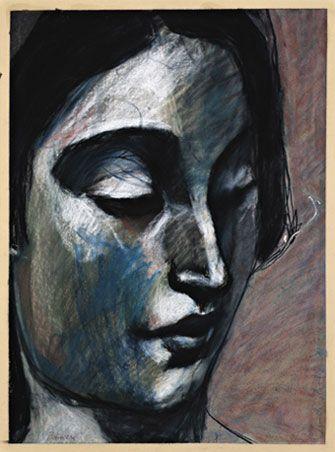 Kuutti Lavonen: Pensieri (Ajatuksissa) 1998 Mustaliitu ja pastelli