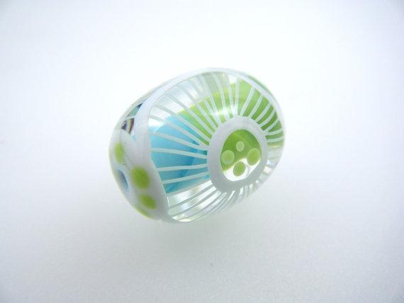 moogin starburst floral oval lampwork focal bead sra lampwork beads