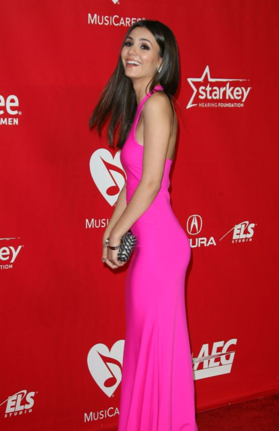 OH SO PRETTY IN HOT PINK backless dress - Victoria Justice at MusicCares 2014.
