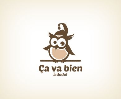 """""""Ca va bien"""" - логотип для ателье, специализирующегося на пошиве детской одежды для сна. Дизайнер - Ольга Шу. #логотип #сова #сон #одежда #пижама #одежда #owl #sleep #nightwear #baby #pajamas #logo #лого #дизайн #design #logodesign #logotype #tailroom #inspiration"""