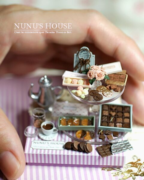 """nunu's house"" - 1:12 scale miniatures by tanaka torro. srsly, look at how tiny those macarons are!"