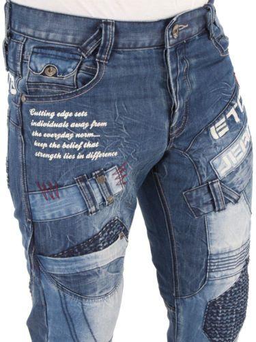 Mens Designer ETO Jeans EM 450 Straight Leg Denim Regular Fit Funky Bar Bottoms