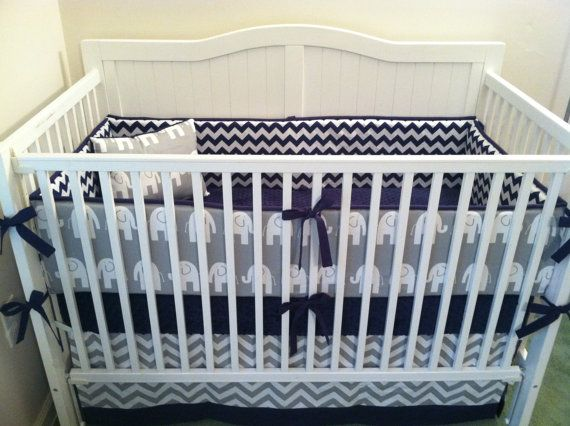 Navy And Gray Elephant Crib Bedding Set By Erbeansboutique 335 00 Baby Pinterest Be