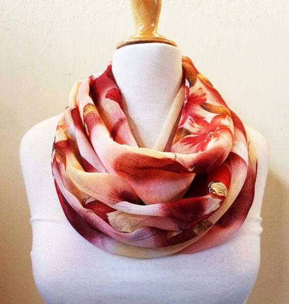 Chiffon loop scarf REDS BURGUNDY CREAM by OriginalDesignsByAR, $13.00
