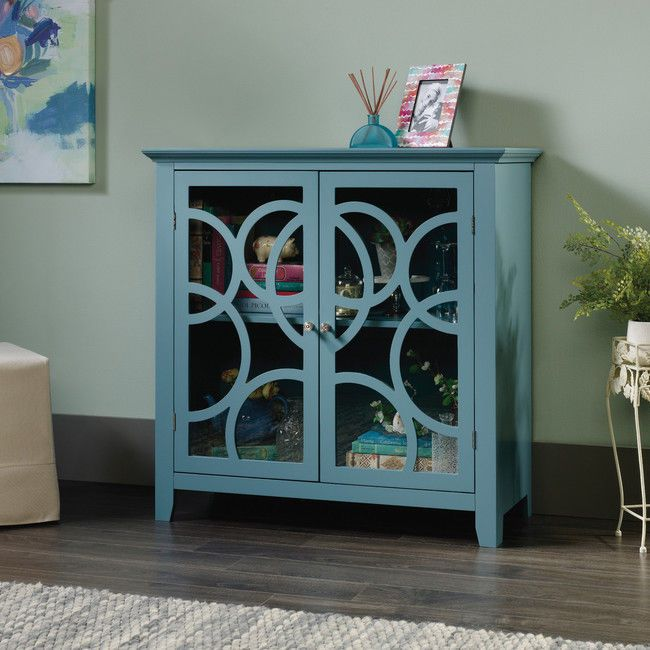 Blue Buffet Cabinet Wood Sideboard Wine Glassware China Storage Dining Room New #AndoverMills
