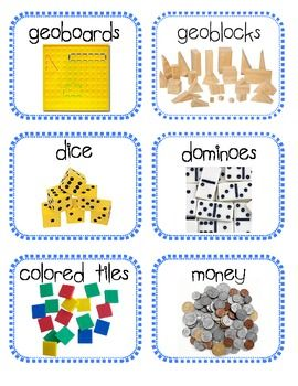 Here's a set of labels for math manipulative storage.