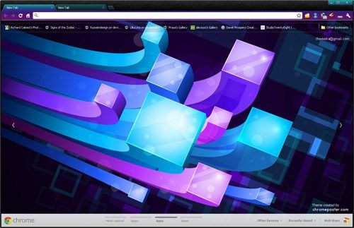 Download free very beautiful 3D Lines Google Chrome Themes , colorful cubes rockmelt layouts skins, install latest best new high quality 3d lines hd chrome backgrounds, cubes chrome .crx file, chromeposter.com, chrome tab designs and personas, chrome wallpapers