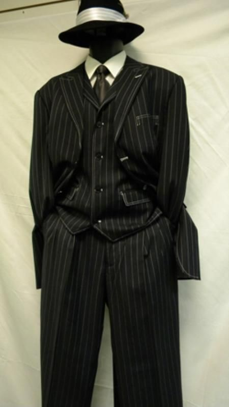 Zoot Suit By Milano Moda Navy White Gangster Stripe 3 Piece $139.00 AT vintagedancer.com