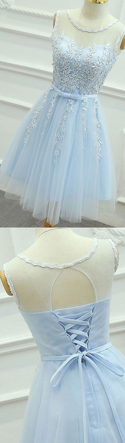 Short Prom Dresses, Blue Prom Dresses, Lace Prom Dresses, Prom Dresses Short, Light Blue Prom Dresses, Blue Homecoming Dresses, Light Blue Homecoming Dresses, Prom Short Dresses, Light Blue dresses, Short Homecoming Dresses, Blue Lace dresses, Lace Up Homecoming Dresses, Bowknot Homecoming Dresses, Round Party Dresses, Sleeveless Party Dresses