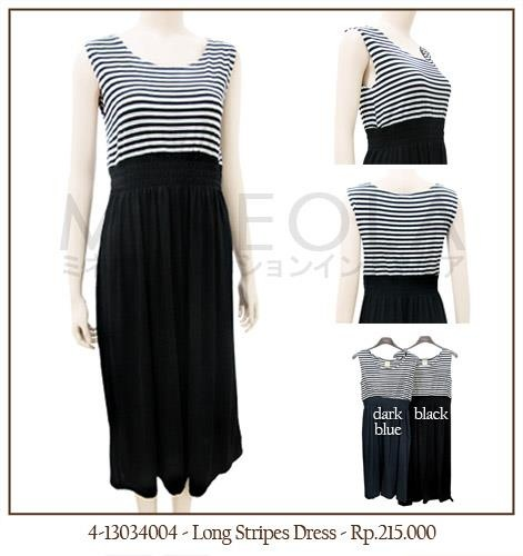 #MINEOLA #NewArrival - Long Stripes Dress Black Color. Also available in dark blue color. Get this for only Rp.215.000,-   Fabrics: Spandex - Product code: 4-13034004 - Bust: 86cm - Length: 108cm - Waist: 100cm