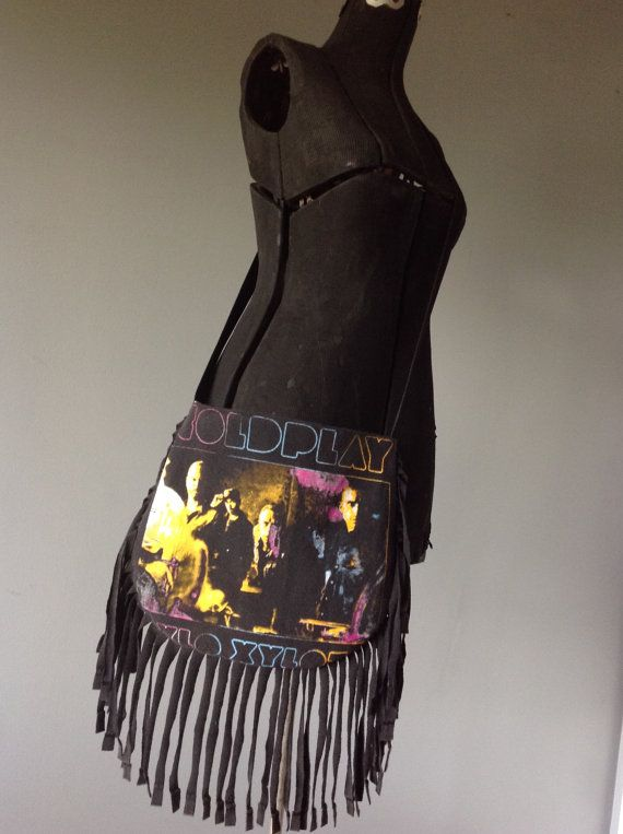 COLDPLAY  Upcycled Rock T-Shirt Fringe Purse  ooak by evilrose