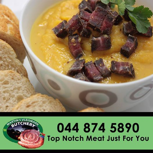 Don't let this rainy weather bring you down, head down to Martin's Vleismark and pick up some delicious biltong for the perfect biltong soup. #biltong #soup #butchery