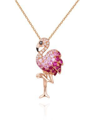 Effy Women Pink Sapphire, Ruby, And Diamond Flamingo Pendant Necklace In 14K Rose Gold - Pink Sapphire - 16 In.