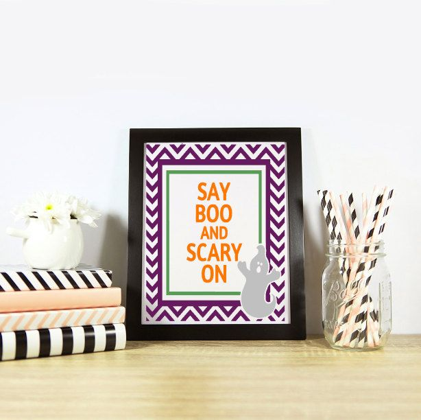 Say Boo and Scary On,Halloween Poster or Card or Tags,Halloween Decor,Trick or…