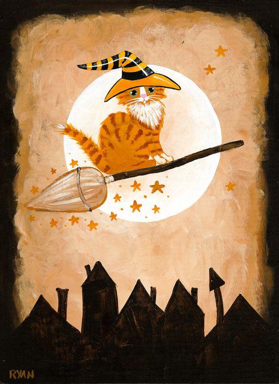 Spreading Halloween Cheer Original Ginger Cat Folk Art Painting